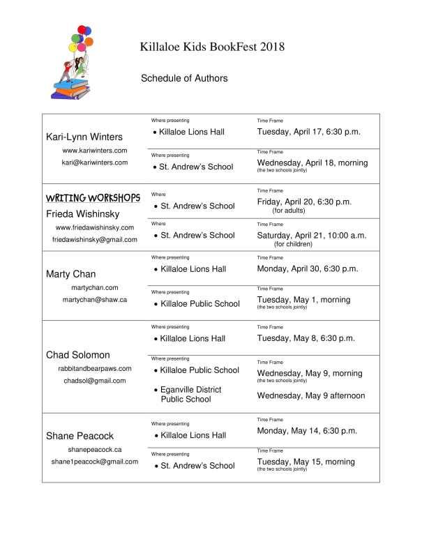 2018 BookFest Schedule