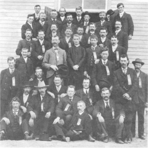 This photo if of the C.M.B.A. 1903. The attached diagram provides the names of those in the photo. Betty Mullin Collection