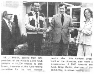 This newspaper clip from the Eganville Leader demonstrating the generosity of Killaloe Service Clubs. Betty Mullin Collection.