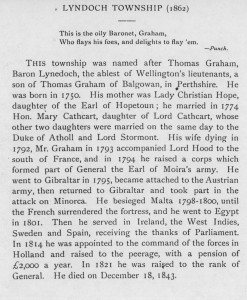A description about how Lyndoch Township was named.
