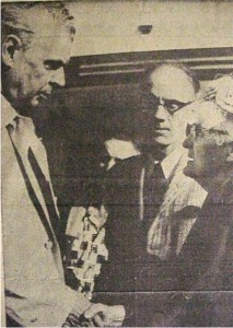 Photo of Prime Minister John Diefenbaker's visit to the area. Shown meeting with him is Mrs. T.A. Boland of Killaloe. killaloe Millennium Museum Exhibit.