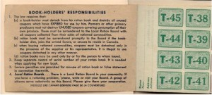 Inside cover of WWII rations book. Pearl Murack Collection.
