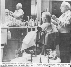 Story and photos about the retirement of local barber Ed Cybulski in 1976. Pearl Murack Collection. This is Photo 1.