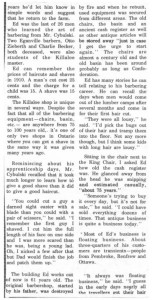 Story and photos about the retirement of local barber Ed Cybulski from the Eganville Leader 1976. Pearl Murack Collection. This is part 2.
