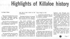 highlights of killaloe history. bm