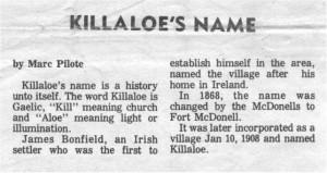 history of killaloe name. bm