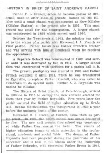 History of St. Andrews Parish as published in the Eganville Leader November 20th, 1961. Part 11 of 18. Betty Mullin Collection.