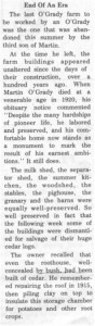 This story and linked photos was written by Brenda Lee-Whiting and published in the Eganville Leader April 2nd, 1975. It is the story of the O'Grady family and Settlement about 9 miles south-west of Killaloe along the Opeongo Line. This is part 14 of 19