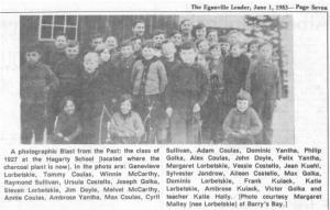 Class photo of Hagarty School 1927. Betty Mullin Collection.