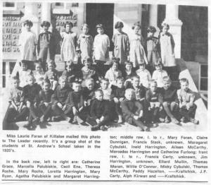 Class photo from 1920's of St. Andrew's School. Betty Mullin Collection.