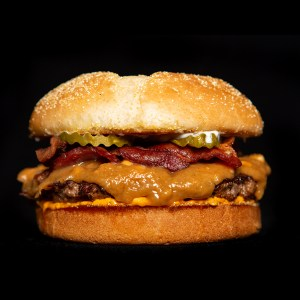 Peanut Butter Pickle Bacon Burger