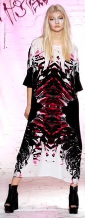 Burj Kaftan Dress in Pink Robot Print