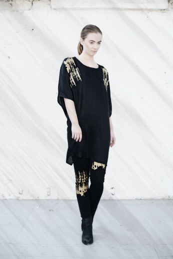 Bamboo silk twist sleeve dress with hand printed gold finish, Organic fairtrade cotton leggings with hand printed gold finish