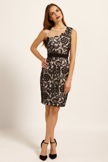 Lace Overlay Embellished Mesh Bodycon Dress by Paper Dolls http://www.little-mistress.co.uk/clothing-c9/paper-dolls-c76/black-cream-lace-overlay-embellished-mesh-bodycon-dress-p1173