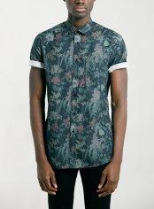 Topman €35.75 - dark green floral print short sleeve shirt http://bit.ly/178WdbF