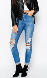 Missguided €42.25 - Riot High Rise Ripped Knee Skinny Jeans http://bit.ly/1V6WS2y