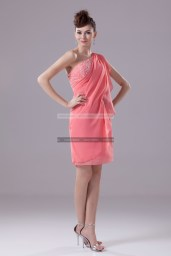 €139 - Charming One shoulder Short Watermelon Evening Dresses http://www.fannycrown.com/charming-one-shoulder-short-watermelon-evening-dresses.html