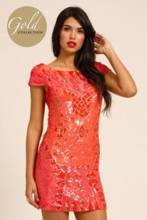 €155.10 - Gold Collection Coral All Over Heavily Embellished Sequin Dress http://www.little-mistress.co.uk/dresses-c101/party-dresses-c103/coral-all-over-heavily-embellished-sequin-dress-p617