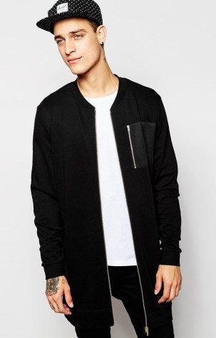 ASOS €45.50 - Super Longline Bomber With Gold Zips & Woven Pocket http://bit.ly/1hbsOSD