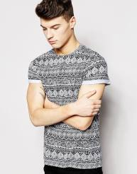 New Look €11.99 - Aztec Print Roll Sleeve T-Shirt http://bit.ly/1MZ1SDU