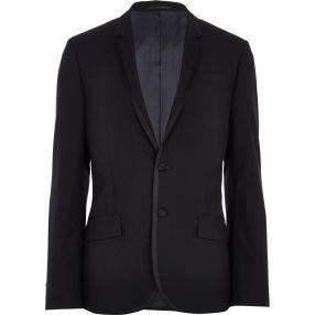 Black Contrast Trim Tux Jacket €87 - http://eu.riverisland.com/men/suits/slim-fit/Black-contrast-trim-tux-blazer-276576