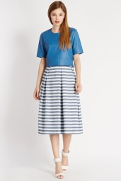 Leather Seamed T-Shirt €100 http://www.oasis-stores.com/leather-seamed-t-shirt/loved-by-mollie/oasis/fcp-product/3890003473 Stripe Midi Skirt €69 http://www.oasis-stores.com/stripe-midi-skirt/loved-by-mollie/oasis/fcp-product/3440097700