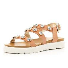 River Island €65 - Pink Gemstone Embellished Flatform Sandals http://tinyurl.com/opybpkz