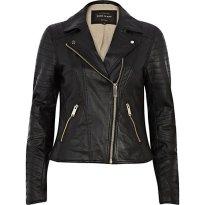 River Island €100 - Black Leather Biker Jacket http://eu.riverisland.com/women/coats--jackets/leather-jackets/Black-leather-biker-jacket-650029