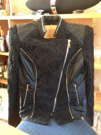 Redial Fashion Lace & Leather Jacket
