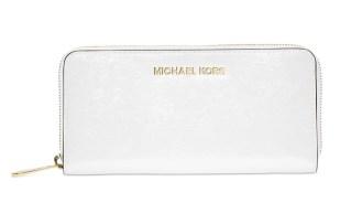 White Michael Jet Set Travel Zip Around Continental Wallet