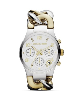 Michael Kors €164 - http://www.michaelkors.com/p/Michael-Kors-Michael-Kors-Mid-Size-Golden-Silver-Color-Stainless-Steel-Link-Watch-VIEW-ALL-WATCHES/prod20670017_cat7502_cat35701_/?index=145&isEditorial=false&cmCat=cat000000cat145cat35701cat7502
