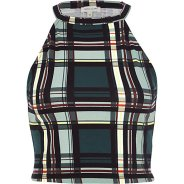 River Island €17 - dark green check racer front crop top http://bit.ly/UtBZlV