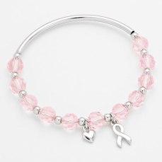 Glitz N Pieces €14.50 - Pink Ribbon Beaded Charm Bracelet http://bit.ly/1uQC3ev