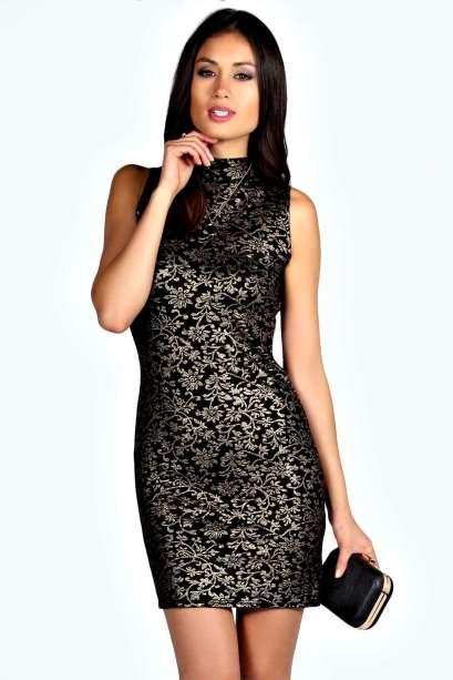 Boohoo €20 - Kim Metallic High Neck Bodycon Dress http://bit.ly/1BfNVYz