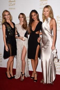 (L-R) Poppy & Cara Delevingne, Joan Smalls, Karlie Kloss