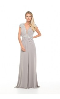 Jovani @ Caris Closet - Grey Embellished Cap Sleeve http://bit.ly/1BpDEws