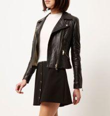 River Island €160 - Black leather fitted biker jacket http://bit.ly/1XsjTMQ