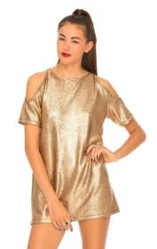 Motel €23 - Savannah Crackle Cold Shoulder Dress in Rose Gold http://bit.ly/1zvNmtY