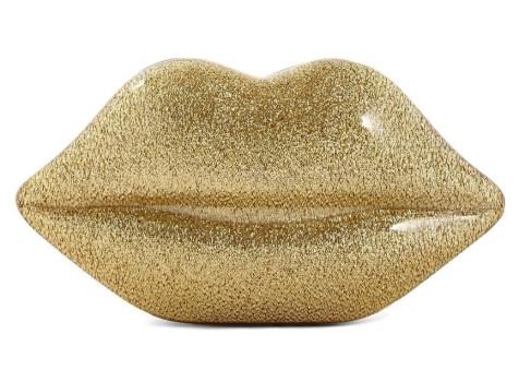 Lulu Guinness €245 - Lips Clutch in Gold Glitter http://bit.ly/1zIZFoz
