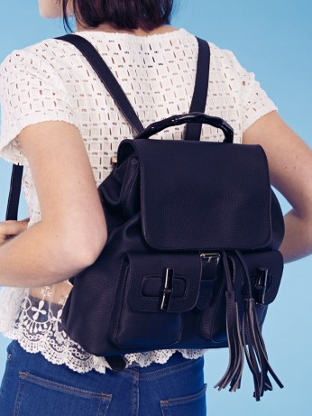 Dahlia €91.30/£65 - Yangon Black Faux Leather Tassle Backpack with Bamboo Detail http://bit.ly/1baDy13
