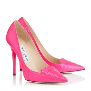 Jimmy Choo €525 - Ari Raspberry Cubed Neon Patent Pointy Toe Pumps http://bit.ly/1Hl3D70