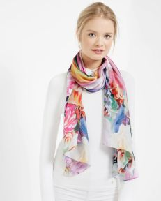 Ted Baker €95 - Adita Floral Swirl long silk scarf http://bit.ly/1nGS86o