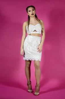 Glamorous Nude & White Lace co-ordinates