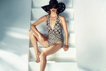 BIBA Desco Foil Plunge Swimsuit €71.50, BIBA black hat €32.50