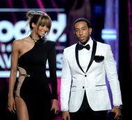 Ciara in Galia Lahav, with Ludacris