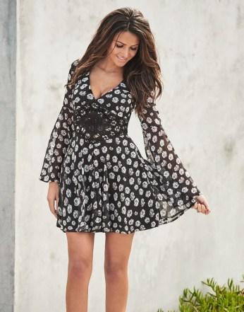 Lipsy €70.99 - Love Michelle Keegan Floral Print Crochet Waist Skater Dress http://bit.ly/28Ijvq6