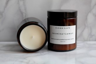 Moss Cottage, €19 - Clean Slate Jasmine + Lemon Candle http://moss.ie/collections/candles/products/clean-slate-jasmine-lemon-scented-soy-candle