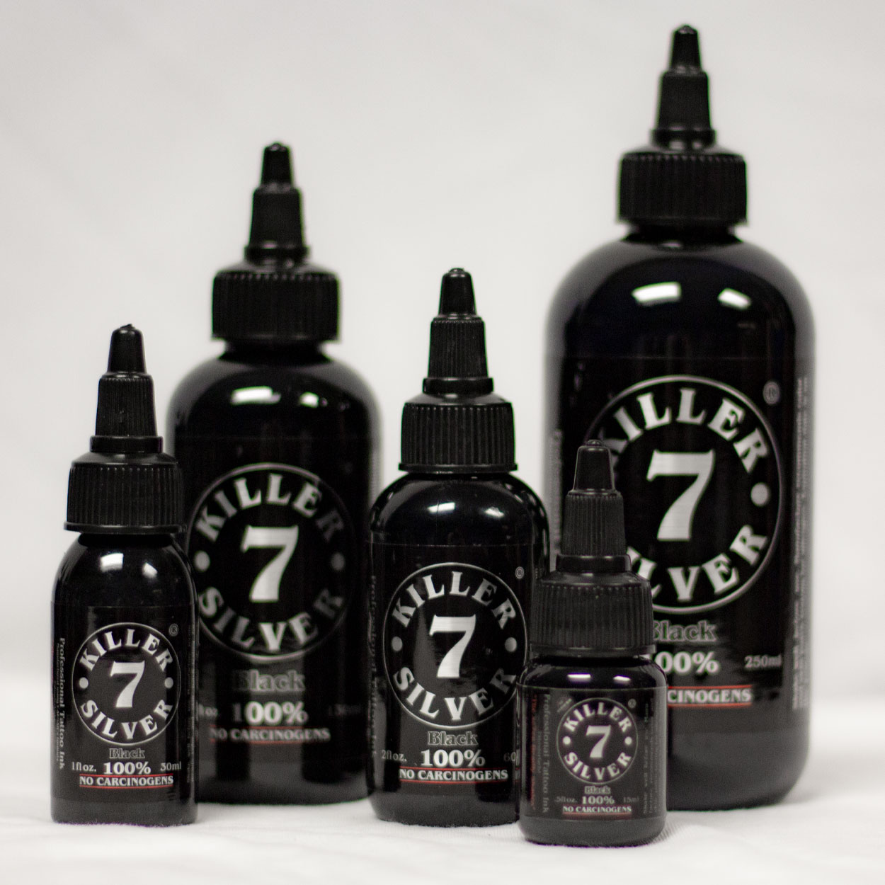 Killer Silver-Black 100%-Tattoo Ink-0.5 oz.-Pitch Black Perfection
