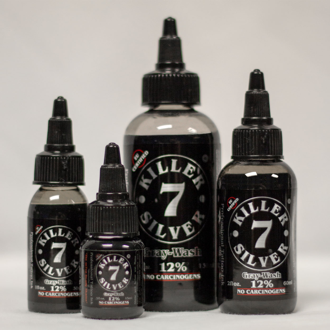 Killer Silver-Gray Wash 12%-Tattoo Ink-4 sizes-Steel Gray Silver