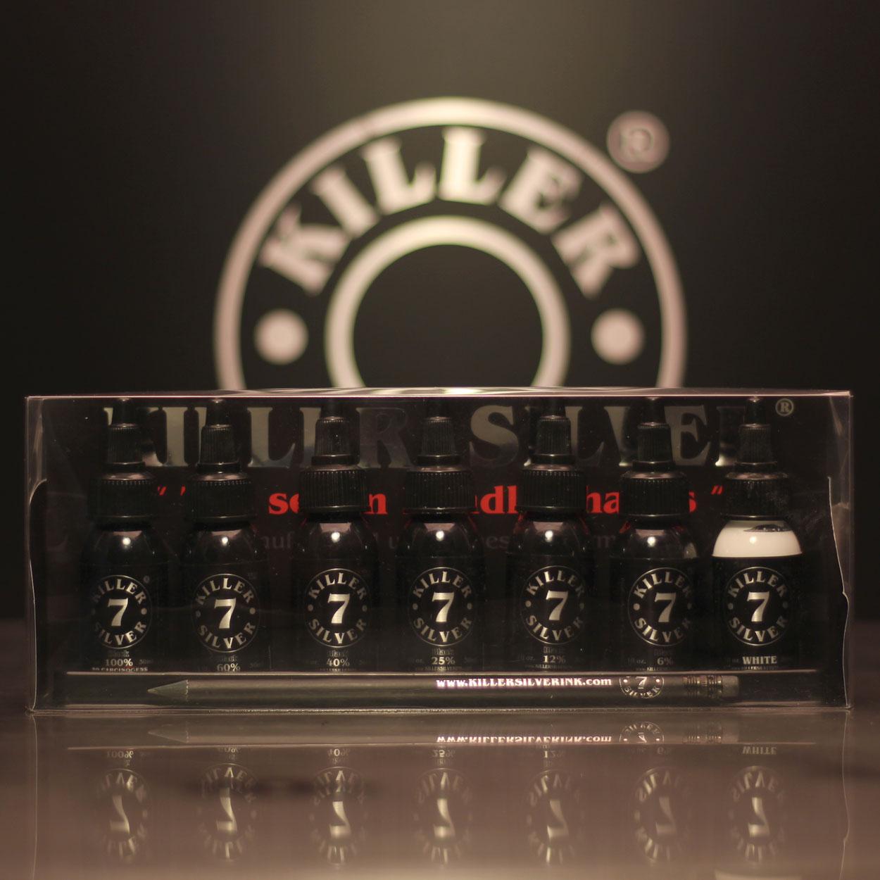 Ultimate gray-wash set - 7 bottles - 1oz - Killer Silver